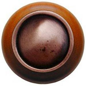 Cherry Wood with Antique Copper Plain Dome Knob
