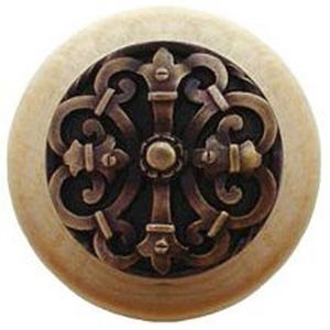 Natural Wood with Antique Brass Chateau Knob