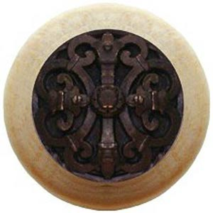 Natural Wood with Dark Brass Chateau Knob