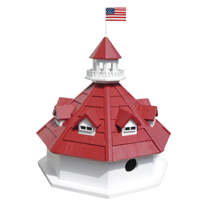 Historic Reproductions White and Red Annapolis Lighthouse Birdhouse