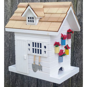 Nestling Series White Potting Shed Bird Feeder