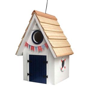 Dockside Cabin Birdhouse - White