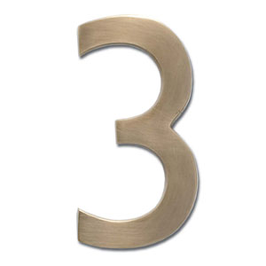 Four Inch Floating House Number Antique Brass 3