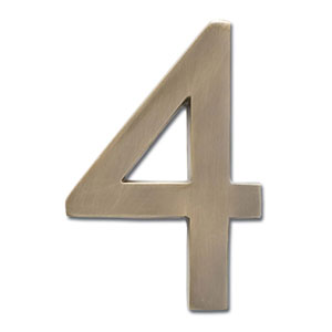 Four Inch Floating House Number Antique Brass 4