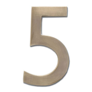 Four Inch Floating House Number Antique Brass 5