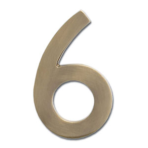 Four Inch Floating House Number Antique Brass 6