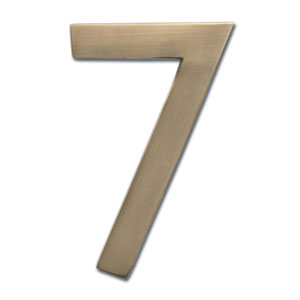 Four Inch Floating House Number Antique Brass 7
