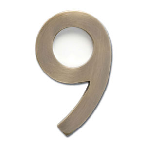 Four Inch Floating House Number Antique Brass 9