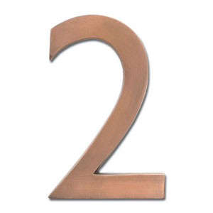 Four Inch Floating House Number Antique Copper 2