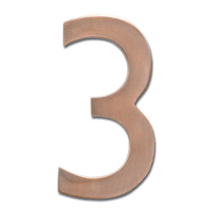 Four Inch Floating House Number Antique Copper 3