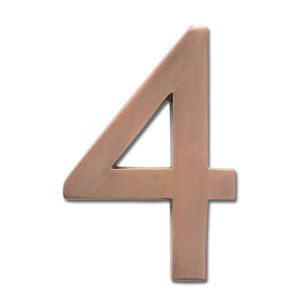 Four Inch Floating House Number Antique Copper 4