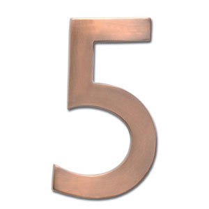 Four Inch Floating House Number Antique Copper 5