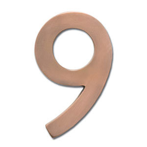 Four Inch Floating House Number Antique Copper Inch9 Inch