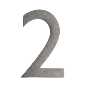 Four Inch Antique Pewter Address Number 2