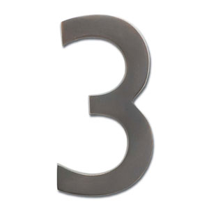 Four Inch Floating House Number Dark Aged Copper 3