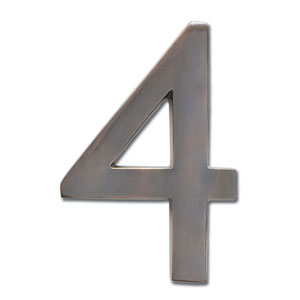 Four Inch Floating House Number Dark Aged Copper 4