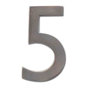 Four Inch Floating House Number Dark Aged Copper 5