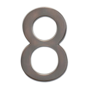 Four Inch Floating House Number Dark Aged Copper 8