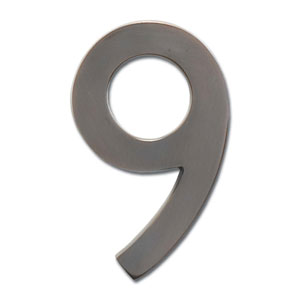 Four Inch Floating House Number Dark Aged Copper 9