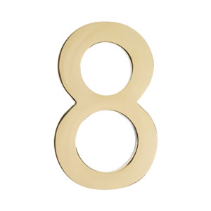 Four Inch Polished Brass Address Number 8