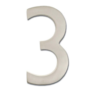 Four Inch Floating House Number Satin Nickel 3