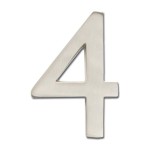 Four Inch Floating House Number Satin Nickel 4