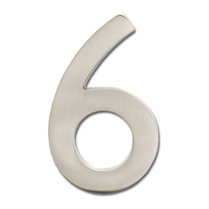 Four Inch Floating House Number Satin Nickel Inch6 Inch