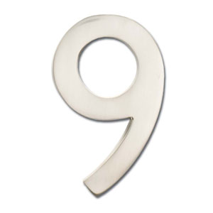 Four Inch Floating House Number Satin Nickel 9