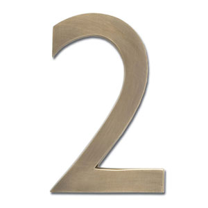 Five Inch Floating House Number Antique Brass Inch2 Inch