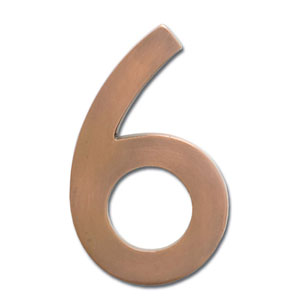 Five Inch Floating House Number Antique Copper 6