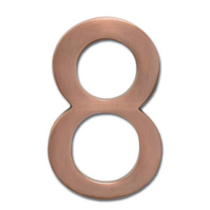 Five Inch Floating House Number Antique Copper 8