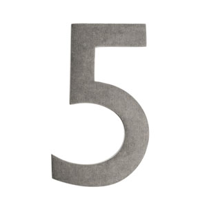 Five Inch Antique Pewter Floating House Number 5