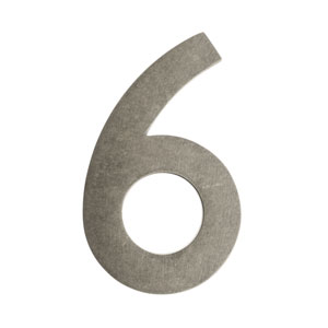 Five Inch Antique Pewter Floating House Number 6