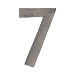 Five Inch Antique Pewter Floating House Number 7