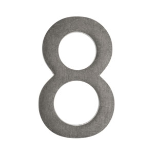 Five Inch Antique Pewter Floating House Number 8