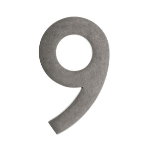 Five Inch Antique Pewter Floating House Number 9
