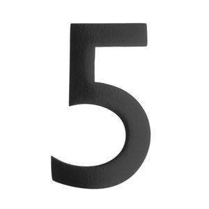 Five Inch Black Floating House Number 5