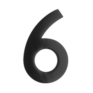 Five Inch Black Floating House Number 6