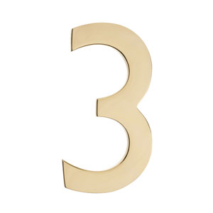 Five Inch Polished Brass Floating House Number 3