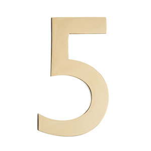 Five Inch Polished Brass Floating House Number 5