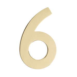 Five Inch Polished Brass Floating House Number 6