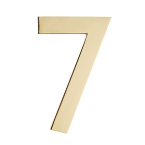 Five Inch Polished Brass Address Number 7