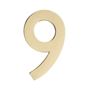 Five Inch Polished Brass Address Number 9
