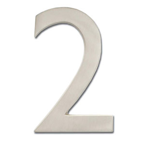 Five Inch Floating House Number Satin Nickel 2