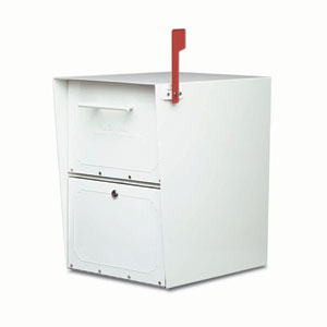 Oasis Jr. Post Mount Mailbox White Stainless Steel