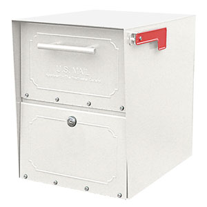 Oasis Jr. White Post Mount Mailbox