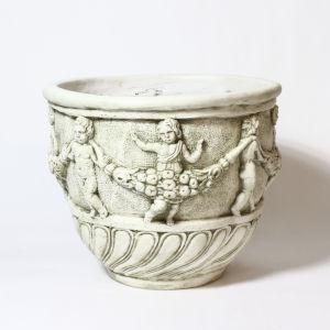 Antique Stone Fiberglass Cherub and Garland Urn