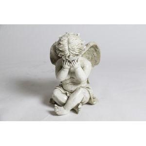 Antique Stone Fiberglass Peekaboo Cherub Figurine