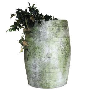 White Moss Fiberstone Whiskey Barrel Planter