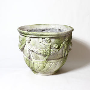 White Moss Fiberstone Cherub and Garland Urn